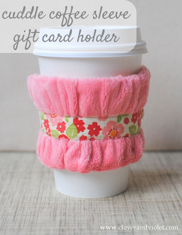 Fuzzy floral coffee sleeve with a gift card pocket