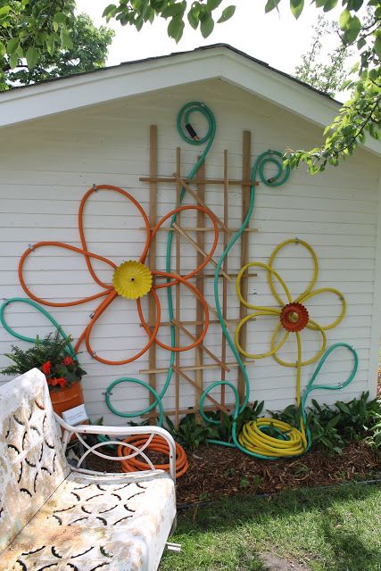 Garden hose and bundt pan flowers