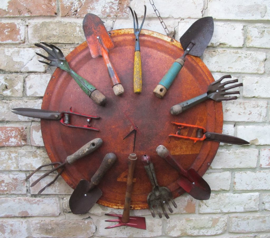 Garden tools wall clock