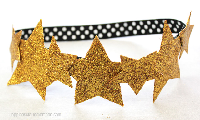 Gold glitter star crown