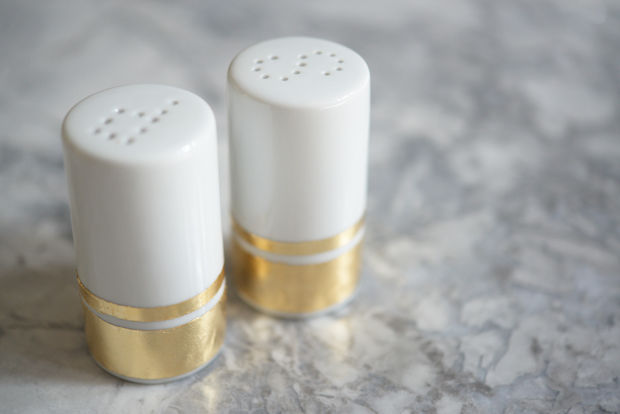Gold leaf salt and pepper shakers