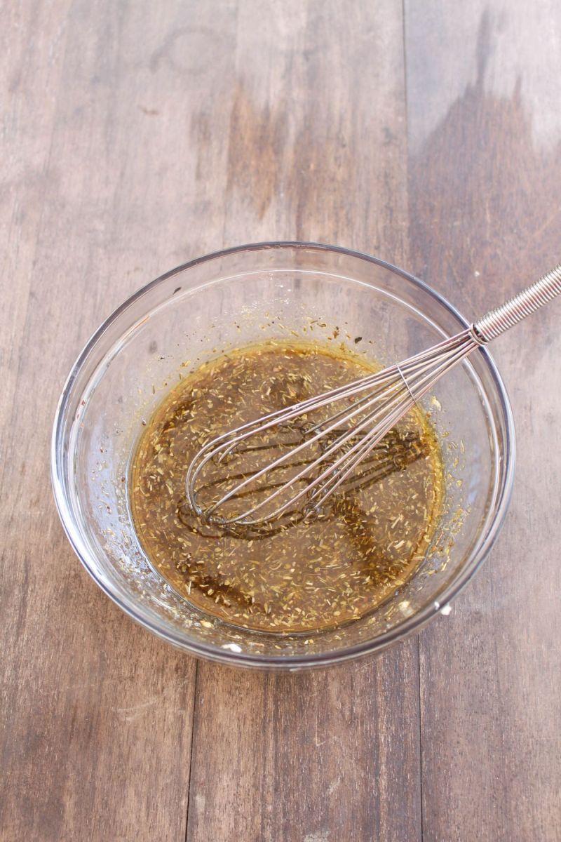Grilled vegetable pasta salad step 1 wisk