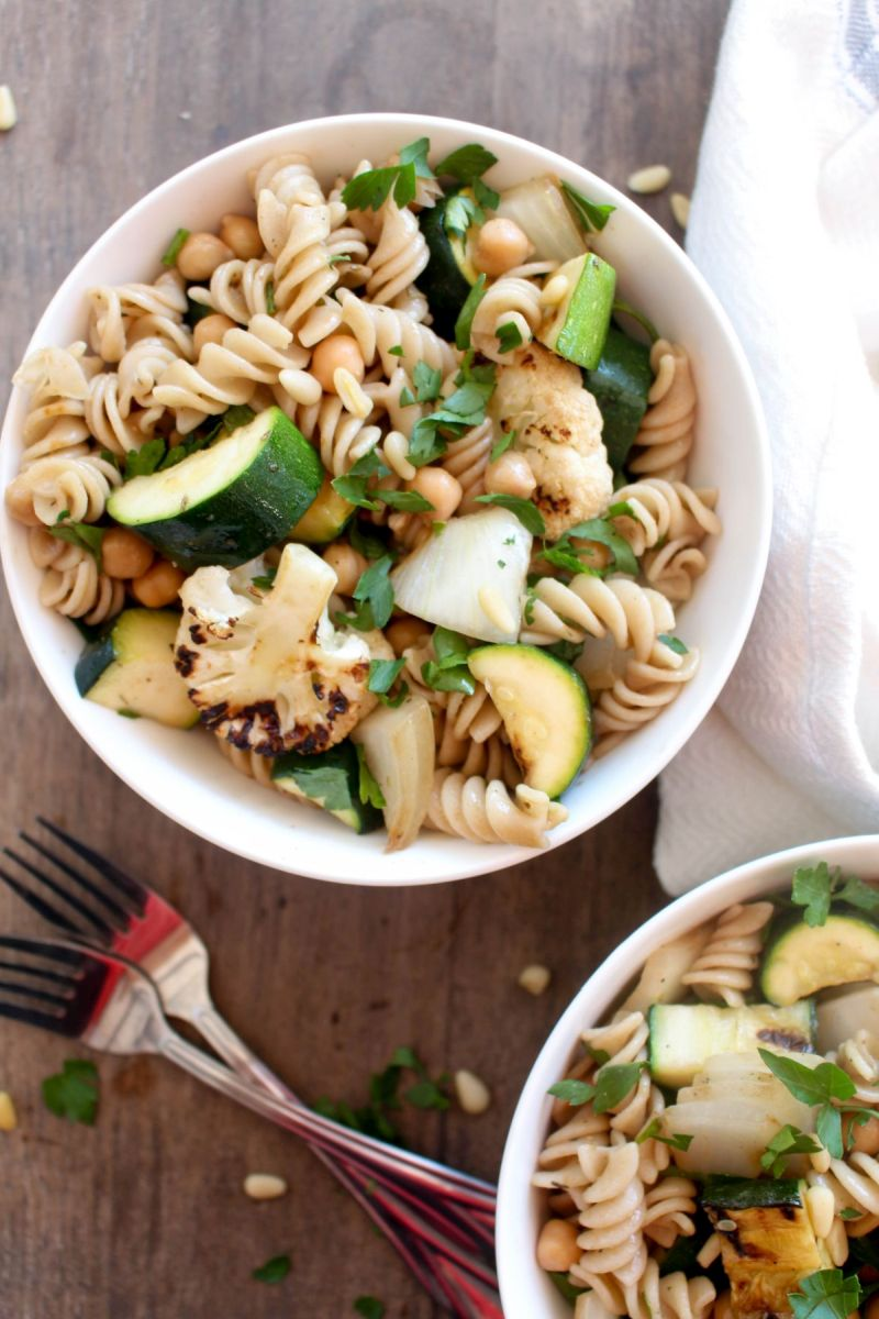 Grilled vegetable pasta salad summer recipe