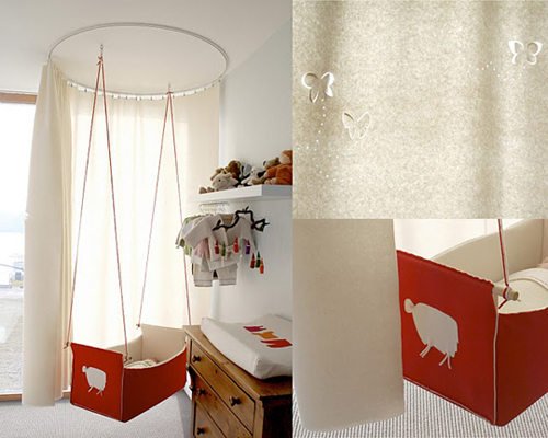 Hanging curtained baby cradle