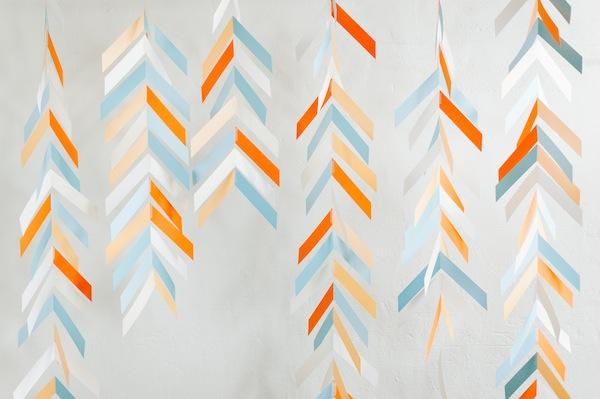 Hanging paper chevron