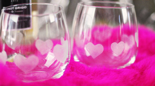 Heart etched valentine's glasses