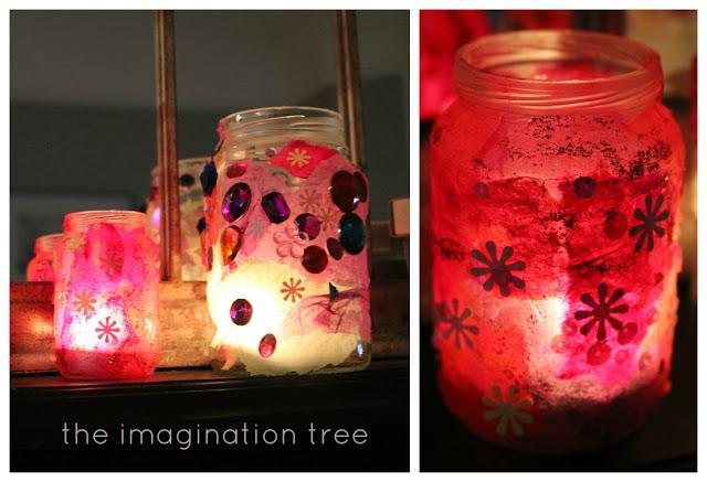 Jam jar and tissue paper luminaries