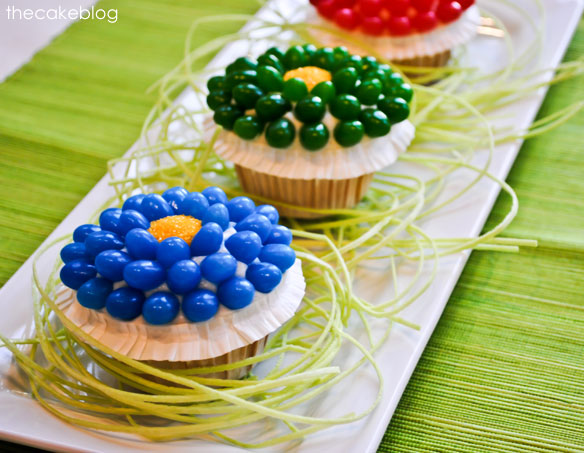 Jelly bean flower easter cupcakes from half baked, thecakeblog com