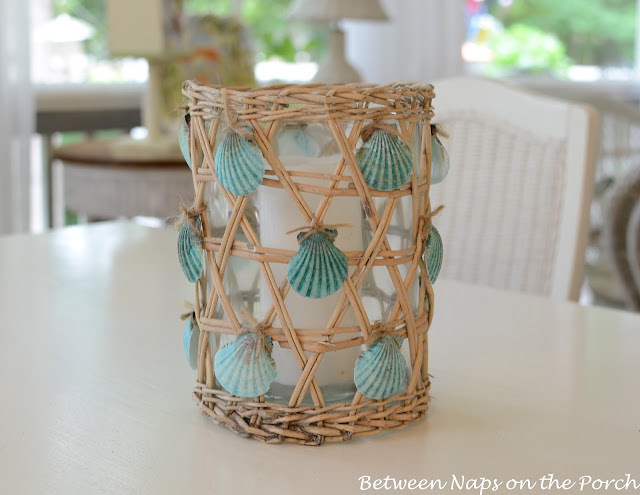 Jute wrapped shell candle holder