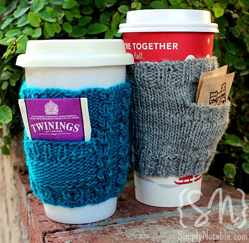 Knitted coffee cozies with pockets