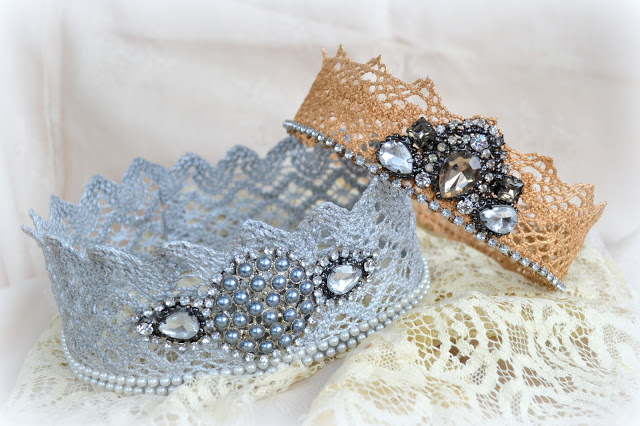 Lace and rhinestone crowns