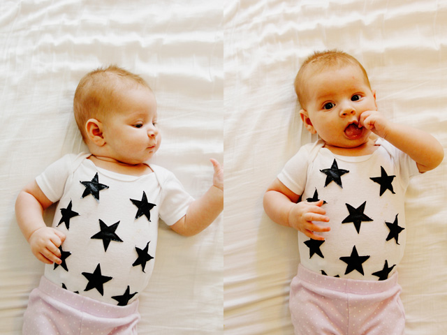 Leather star baby onesie
