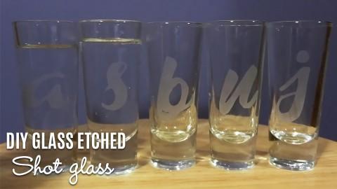 Letter etched shot glasses