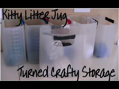 Litter jug yarn and craft storage