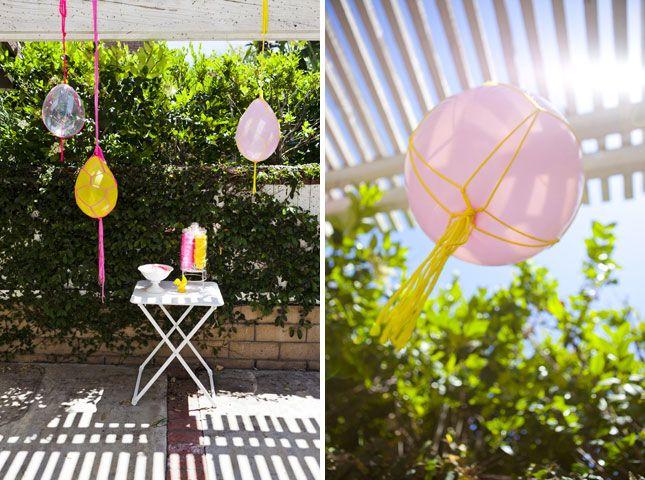 Macrame wrapped balloons