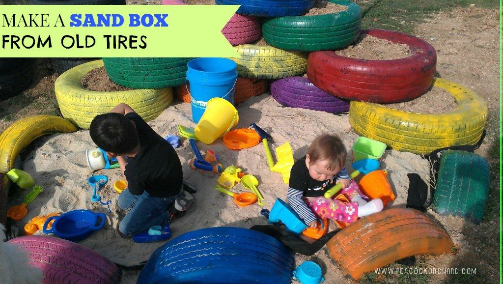 Make a sand box from old tires