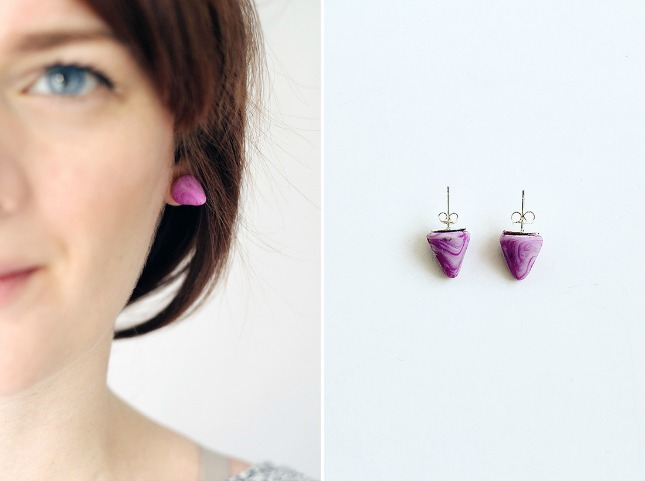 Marbled clay earrings