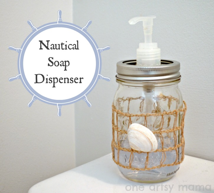 Nautical mason jar soap dispenser