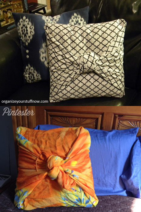 No sew front knotted pillow cover