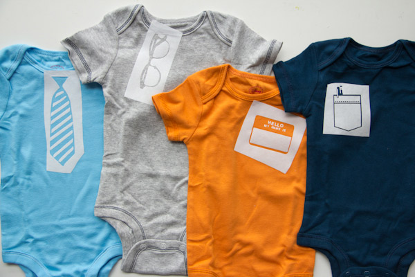 Office themed stencilled onesies