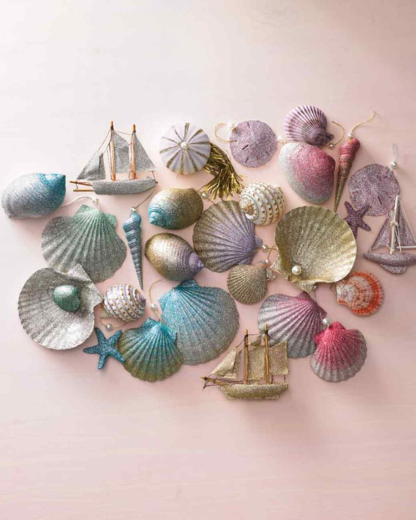 Ombre glittered seashell tree ornaments