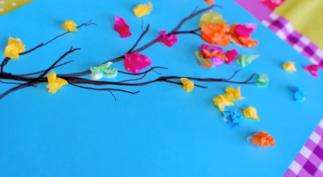 Paint And Tissue Paper Spring Branches This Craft Idea