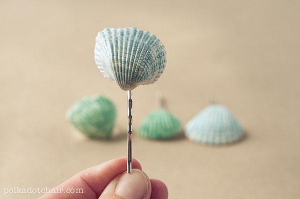 Painted seashell bobby pins