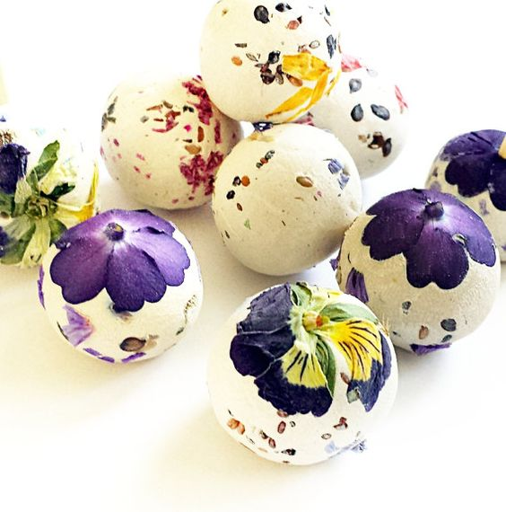 Pansy decoupaged seed bombs