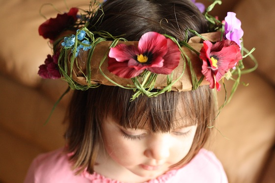 Paper bag flower crown