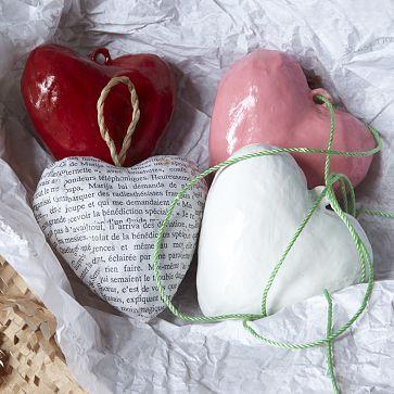 Paper mache heart ornaments
