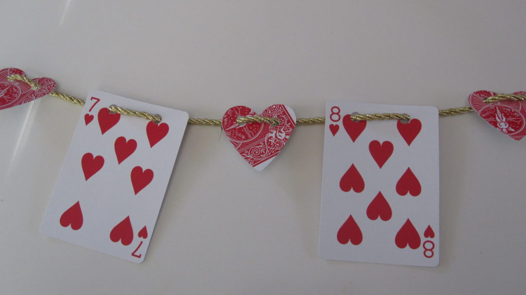 Playing card valentine's day garland
