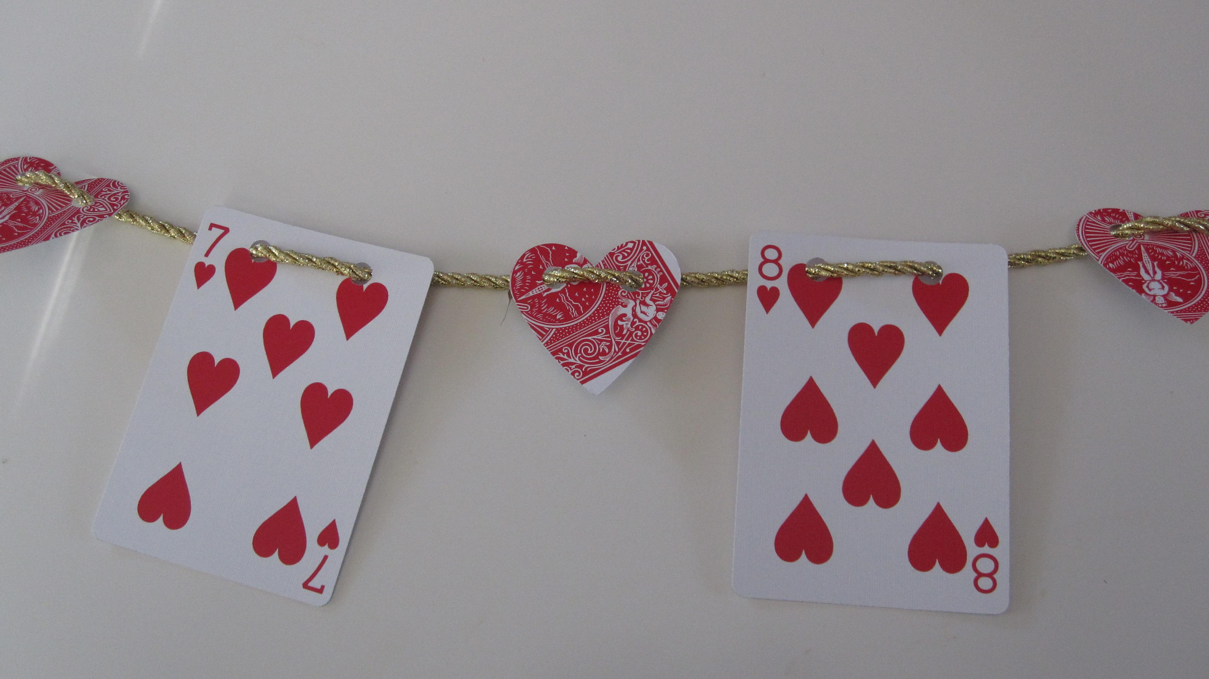 Playing card valentine's day garland