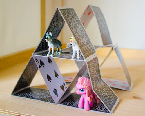 Playing card and hot glue toy house