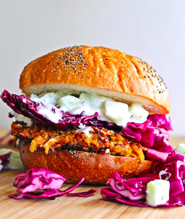 Quinoa burgers with homemade tzatziki sauce