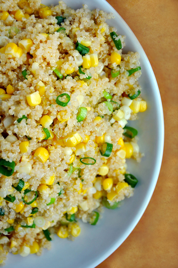 Quinoa with corn and scallions with honey butter dressing
