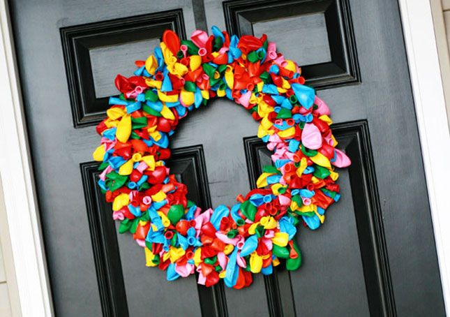 Rainbow balloon door wreath