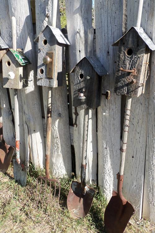Rake and spade birdhouses