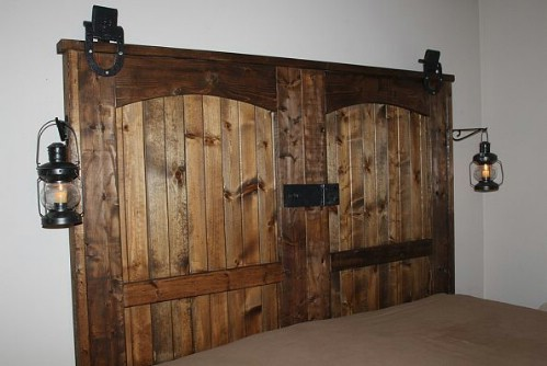 Reclaimed barn door headboard
