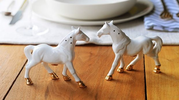 Revamped vintage horse salt and pepper shakers