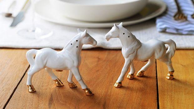 Revamped vintage horse salt and pepper shakers