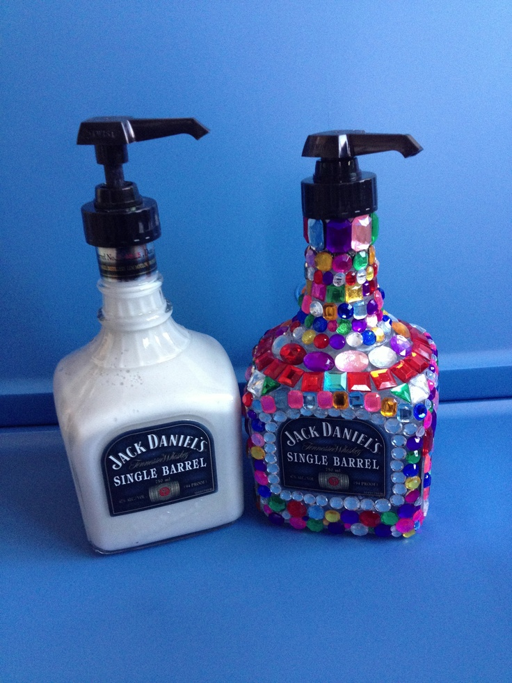 Rhinestoned jack daniels soap dispenser