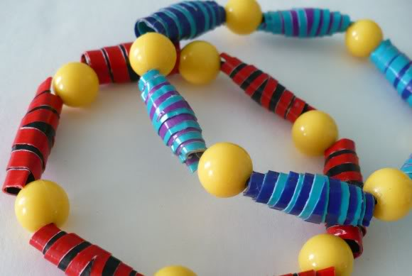 Rolled duct tape bead bracelets
