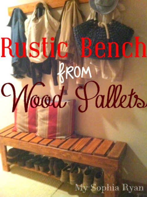 Rustic front hallway bench from wooden pallets