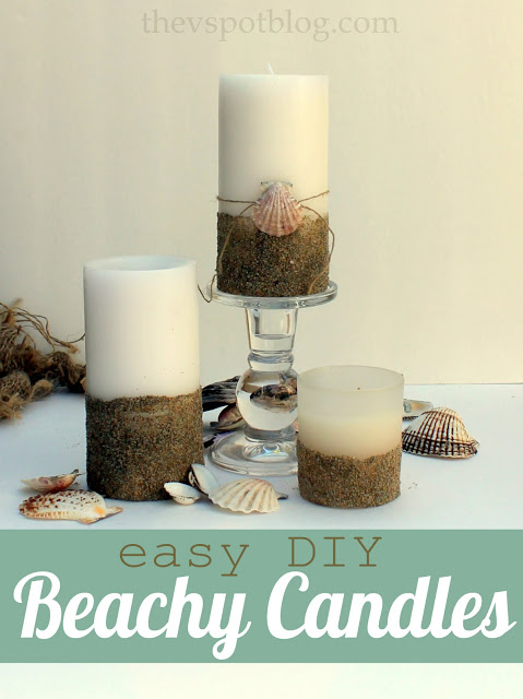 Sand dipped seashell pillar candles