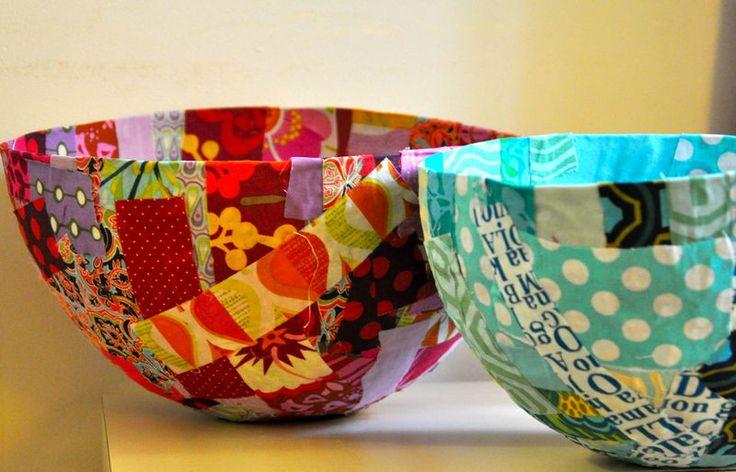 Scrap fabric mache bowls