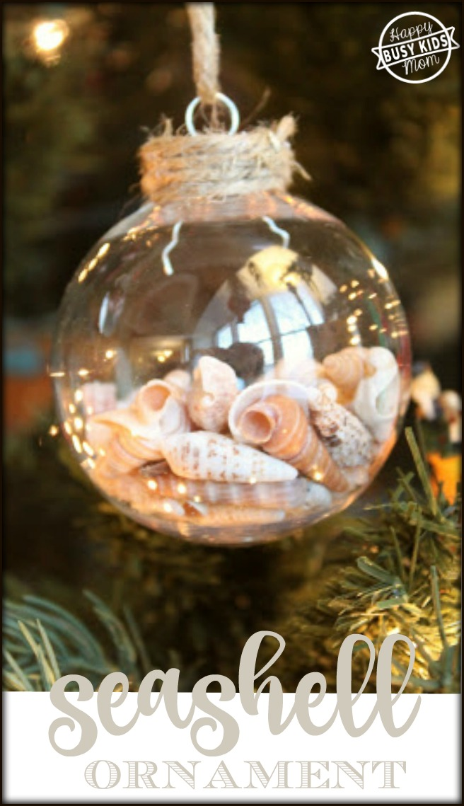 Seashell filled christmas ornaments