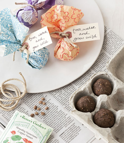 Seed bombs in gathered wedding favour cases