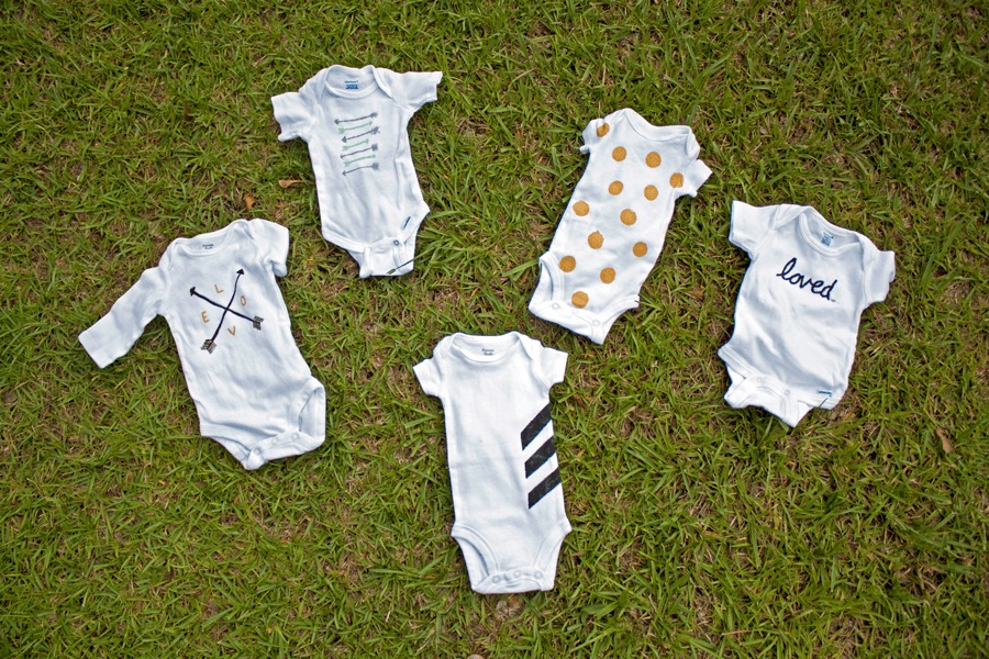 Simply patterned fabric paint onesies