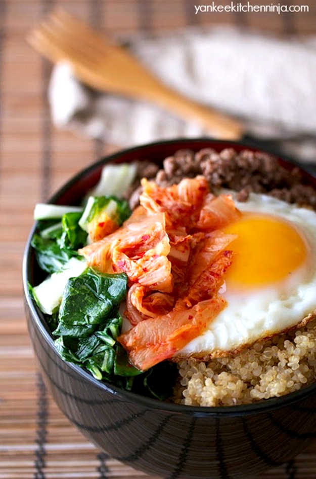 Spicy korean beed bowl with kimchi and bok choy