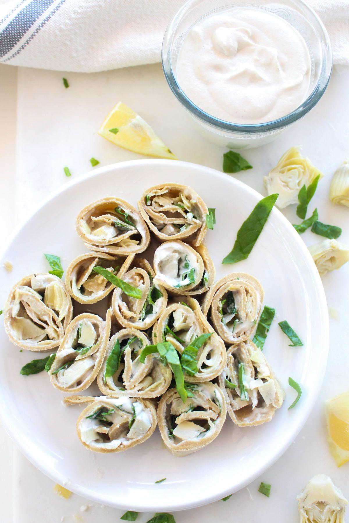 Spinach artichoke pinwheels